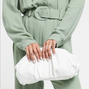 ASOS Design Oversized Ruched White Clutch Bag